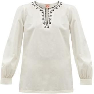 Le Sirenuse Le Sirenuse, Positano - Vera Embroidered Cotton-poplin Blouse - Womens - Cream