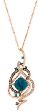 LeVian Le Vian Exotics Deep Sea Blue Topaz (5-3/8 ct. t.w.) and Diamond (3/4 ct. t.w.) Pendant Necklace in 14k Rose Gold