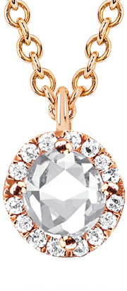 Ef Collection 14K Rose Gold 1.64 Ct. Tw. Diamond & White Topaz Round Necklace