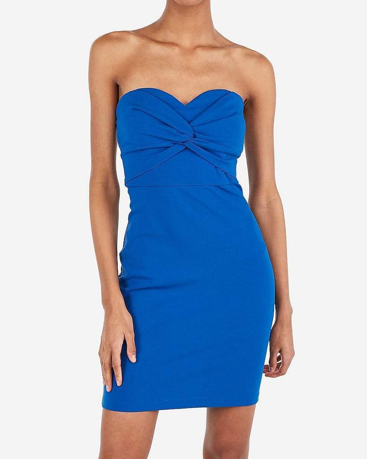 Express Twist Front Strapless Sweetheart Bodycon Dress