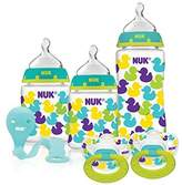 NUK Fashion Confetti Ducks Orthodontic Bottle and Pacifier Gift Starter Set by