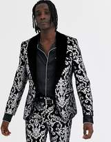 Twisted Tailor super skinny velvet suit jacket with silver print in black