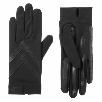 Isotoner womens Spandex Shortie With Leather Palm Strips Cold Weather Gloves Smartdri Black Large X-Large US