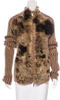 Roberto Cavalli Shearling-Accented Wool Cardigan