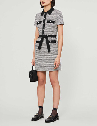 Maje Renala belted boucle mini dress