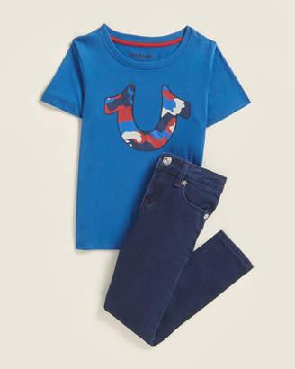 True Religion Boys 4-7) Two-Piece Camo Logo Tee & Jeans Set