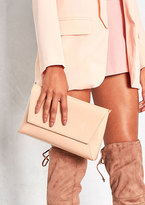 Missy Empire Aida Nude Leather Envelope Clutch