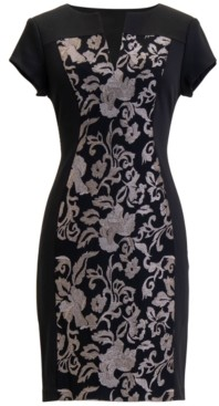 Connected Printed Scuba Sheath Dress