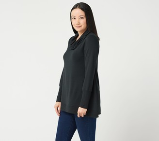 Halston H by Cowl Neck French Terry Tunic with Curved Hem