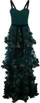 Marchesa Flower-Embellished Maxi Dress