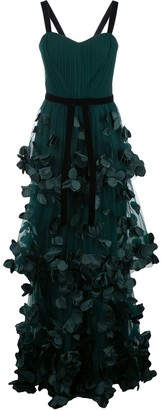 Marchesa Flower-Embellished Maxi Dress