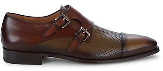 Mezlan Saber Two-Tone Double-Buckle Monk-Strap Loafers
