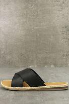 Bamboo Koren Black Espadrille Slide Sandals