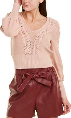 BCBGMAXAZRIA Crop Silk-Blend Sweater