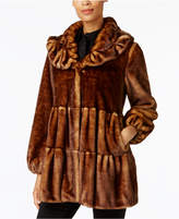Jones New York Faux-Fur Tiered Babydoll Coat