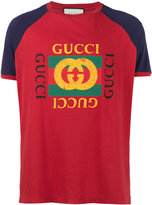 Gucci Fake Print Logo T-Shirt with Contrasting Sleeves - men - Cotton - XXL