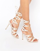 Lipsy Bevan Tan Ghillie Lace Up Calf Heeled Sandals