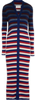 Maison Margiela Striped Ribbed Cotton Cardigan - Red