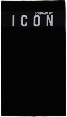 DSQUARED2 Black Icon Beach Towel