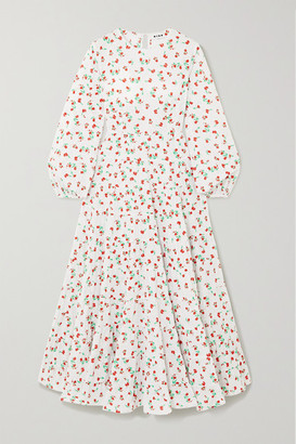 Rixo Pip Tiered Floral-print Fil Coupe Cotton Maxi Dress - White