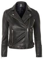 Topshop Washed Leather Biker Jacket