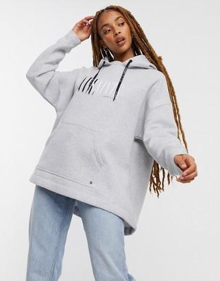 AllSaints Etienne oversized logo hoodie in grey marle