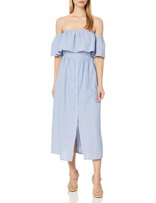 J.o.a. Women's Off The Shoulder Button Front Maxi Dress