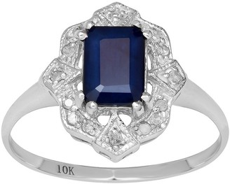 Overstock Viducci 10k White Gold Vintage Style Genuine Emerald-Cut Sapphire and Diamond Ring