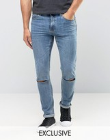 Cheap Monday Jeans Tight Skinny Fit Dark Clean Ripped Knee