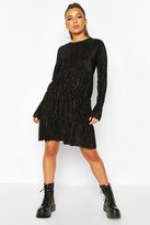 boohoo Pleated Long Sleeve Tiered Smock Dress