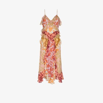 Zimmermann Lovestruck rose print ruffled slip dress