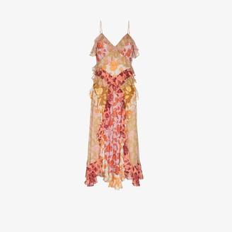 Zimmermann Lovestruck rose print ruffled slip dress