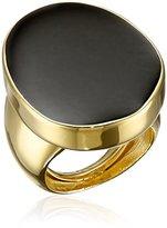 Kenneth Jay Lane Polished Gold and Black Enamel Adjustable Ring, Size 5-7