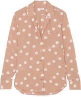 Equipment Keira Polka-dot Washed-silk Shirt - Blush
