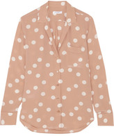 Equipment Keira Polka-dot Washed-silk Shirt - small