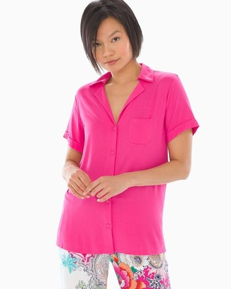Cool Nights Short Sleeve Notch Collar Pajama Top Summer Berry