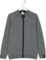 Armani Junior zipped cardigan - kids - Cotton/Wool - 14 yrs