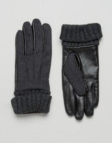 Asos Leather And Felt Gloves In Charcoal