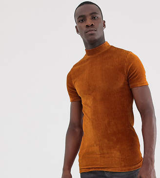 Asos Design DESIGN Tall muscle t-shirt with stretch and turtleneck in ribbed velour in rust-Orange