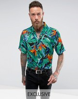 Reclaimed Vintage Inspired Revere Shirt With Tropical Print Reg Fit