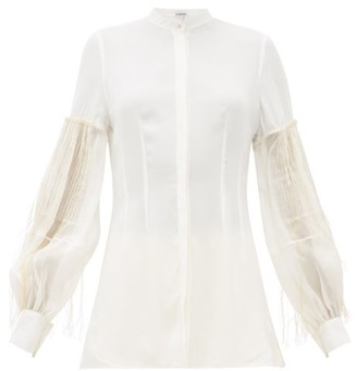 Loewe Embroidered Pleated-sleeve Crepe Blouse - White