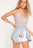 Missguided Button Front Cami Grey Marl