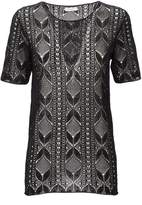 Saint Laurent Black Lace Top With Short Sleeves
