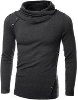 DJT Mens Turtleneck Slim Fit Oblique Line Button Pullover Sweater