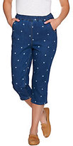 Denim & Co. As Is Pull-on Star Printed Capri with Pockets
