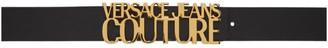Versace Black Leather Logo Belt