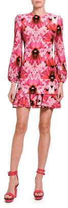 Alexander McQueen Floral Crepe De Chine Mini Flounce Dress