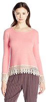 Jolt Women's Long Sleeve Ribbed Top with Lace Hem