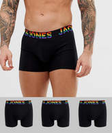 Jack & Jones 3 pack trunks with rainbow waistband in black