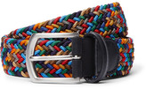 Andersons Anderson's - 3.5cm Leather-trimmed Woven Elastic Belt - Blue